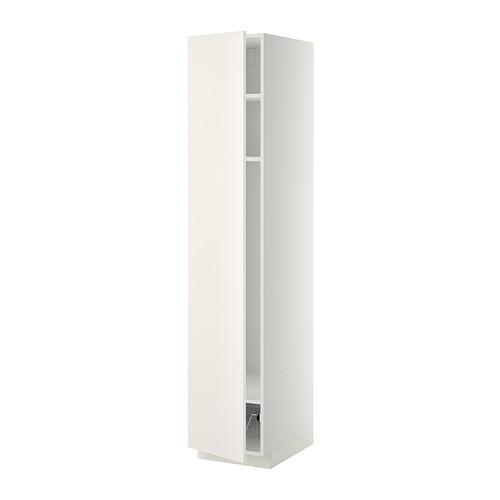 МЕТОД Выс шкаф с полками/проволоч корзин - 40x60x200 см, Веддинге белый, белый