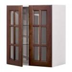 ФАКТУМ Навесной шкаф с 2 стеклянн дверями - Лильестад темно-коричневый, 80x92 см