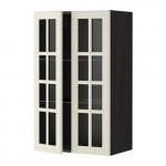 МЕТОД Навесной шкаф с полками/2 стекл дв - 60x100 см, Будбин белый с оттенком, под дерево черный