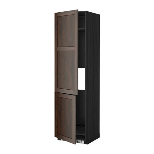 МЕТОД Высокий шкаф д/холод/мороз/2дверцы - Эдсерум под дерево коричневый, под дерево черный