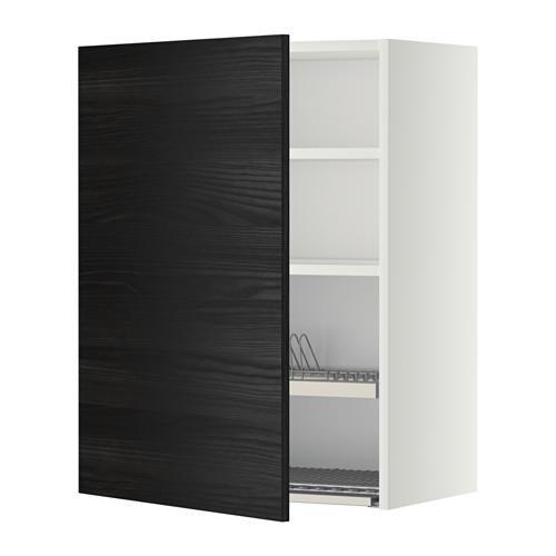 МЕТОД Шкаф навесной с сушкой - 60x80 см, Тингсрид под дерево черный, белый