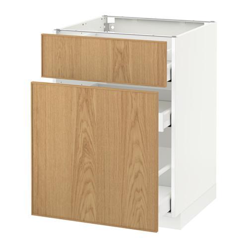 МЕТОД / МАКСИМЕРА Напольн шкаф/выдвижн секц/ящик - 60x60 см, Экестад дуб, белый