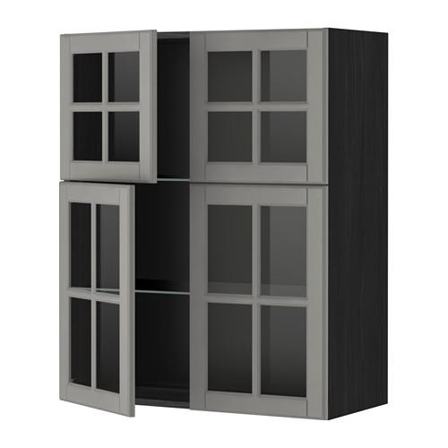 МЕТОД Навесной шкаф с полками/4 стекл дв - под дерево черный, Будбин серый