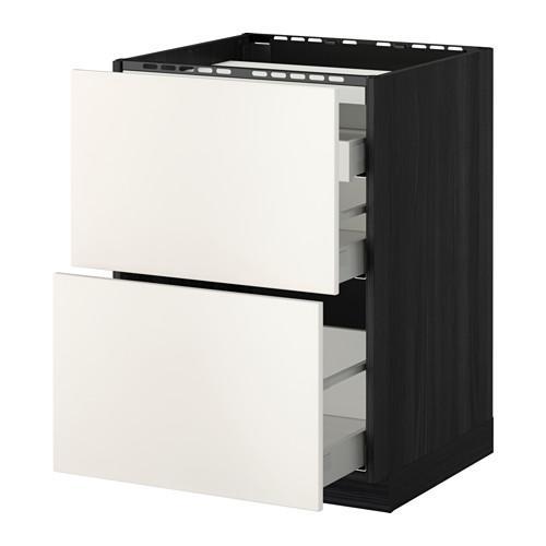 МЕТОД / МАКСИМЕРА Напольн шкаф/2 фронт пнл/3 ящика - 60x60 см, Веддинге белый, под дерево черный