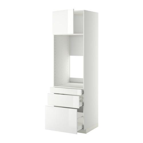 МЕТОД / МАКСИМЕРА Выс шкаф д/двойн духовки/3ящ/дверца - 60x60x200 см, Рингульт глянцевый белый, белый
