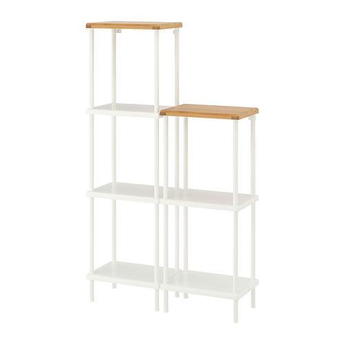 DYNAN rack white / bamboo pattern 80x27x96-136 cm