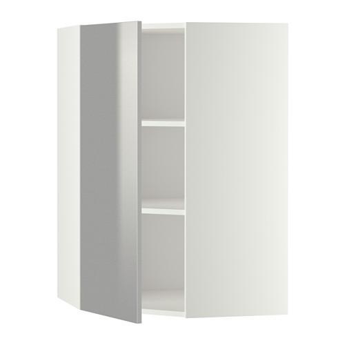МЕТОД Угловой навесной шкаф с полками - 68x100 см, Гревста нержавеющ сталь, белый