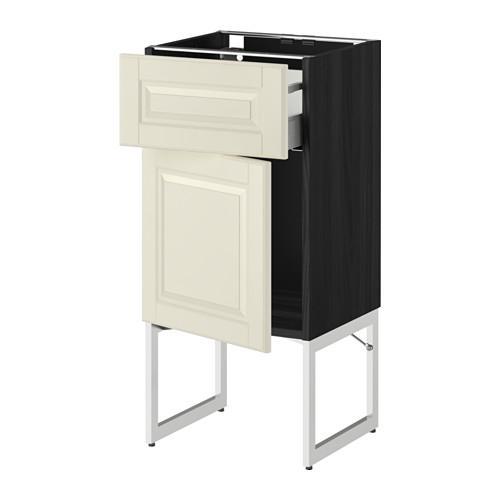 МЕТОД / МАКСИМЕРА Напольный шкаф с ящиком/дверью - 40x37x60 см, Будбин белый с оттенком, под дерево черный