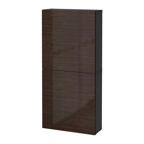 БЕСТО Навесной шкаф с 2 дверями - черно-коричневый/Сельсвикен глянцевый/коричневый