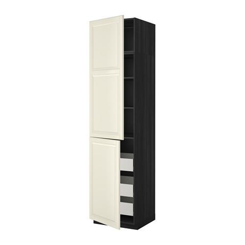 МЕТОД / МАКСИМЕРА Высокий шкаф+полки/3 ящика/2 дверцы - 60x60x240 см, Будбин белый с оттенком, под дерево черный