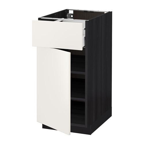 МЕТОД / МАКСИМЕРА Напольный шкаф с ящиком/дверью - 40x60 см, Веддинге белый, под дерево черный