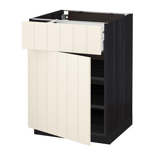 МЕТОД / МАКСИМЕРА Напольный шкаф с ящиком/дверью - 60x60 см, Хитарп белый с оттенком, под дерево черный