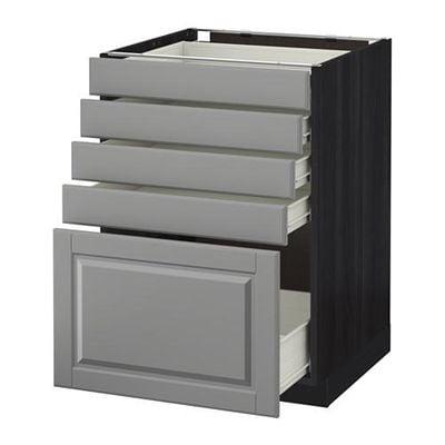 МЕТОД / ФОРВАРА Напольный шкаф с 5 ящиками - 60x60 см, Будбин серый, под дерево черный