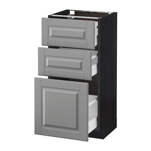 МЕТОД / МАКСИМЕРА Напольный шкаф с 3 ящиками - 40x37 см, Будбин серый, под дерево черный
