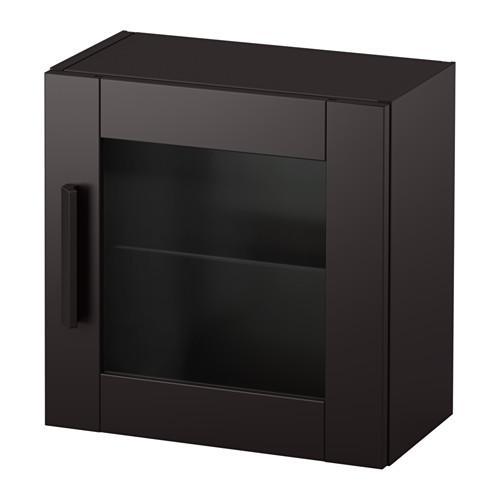 БРИМНЭС Навесной шкаф со стеклянной дверью - черный
