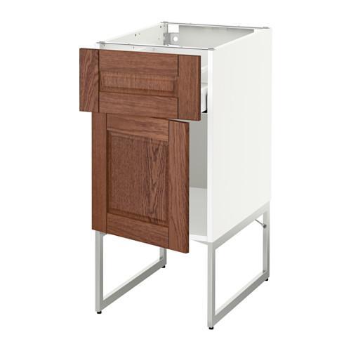 МЕТОД / МАКСИМЕРА Напольный шкаф с ящиком/дверью - 40x60x60 см, Филипстад коричневый, белый