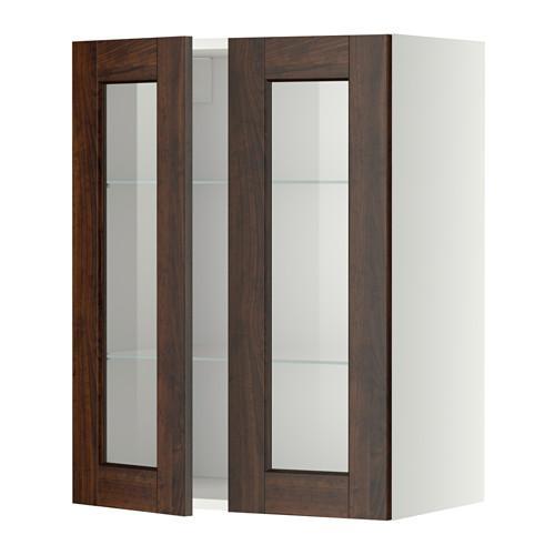 МЕТОД Навесной шкаф с полками/2 стекл дв - 60x80 см, Эдсерум под дерево коричневый, белый