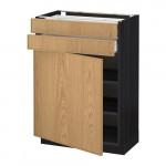 МЕТОД / МАКСИМЕРА Напольный шкаф с дверцей/2 ящиками - 60x37 см, Экестад дуб, под дерево черный