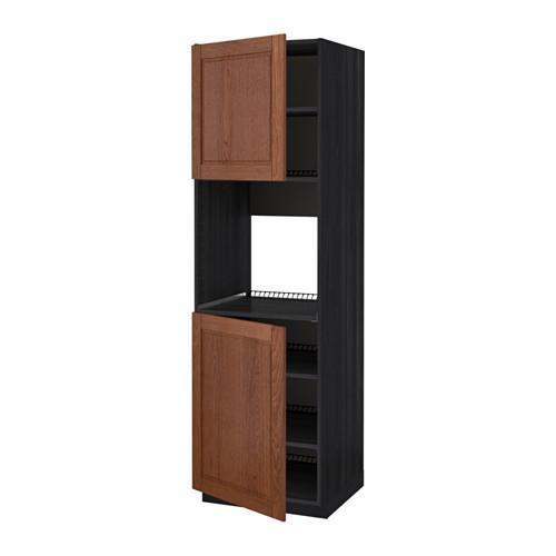 МЕТОД Высок шкаф д/духовки/2дверцы/полки - 60x60x200 см, Филипстад коричневый, под дерево черный