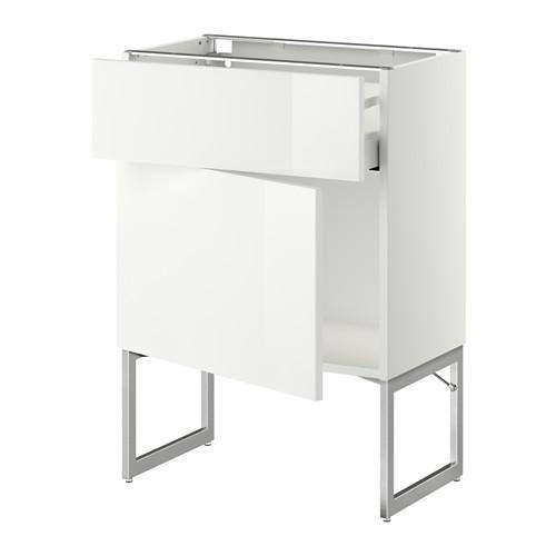 МЕТОД / МАКСИМЕРА Напольный шкаф с ящиком/дверью - 60x37x60 см, Рингульт глянцевый белый, белый