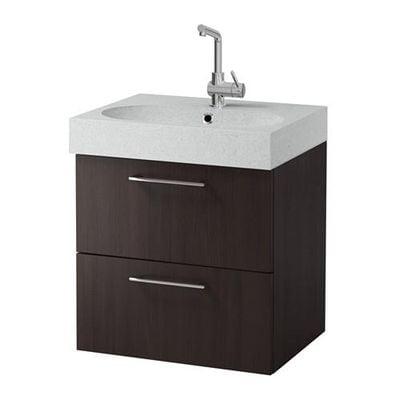 GODMORGON / Bråviken cabinet sinks with 2 drawers - black-brown / light gray