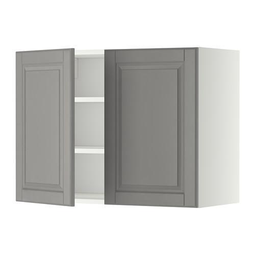 МЕТОД Навесной шкаф с полками/2дверцы - 80x60 см, Будбин серый, белый