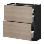 VERFAHREN / FORVARA Nap Schrank 2 FRNT PNL / 1nizk / 2sr Schubladen - Holz schwarz, Brokhult Nussbaum Effekt hellgrau, 80x37 cm