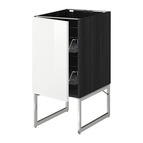 МЕТОД Напольный шкаф с проволочн ящиками - 40x60x60 см, Рингульт глянцевый белый, под дерево черный