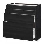 МЕТОД / МАКСИМЕРА Напольн шкаф 4 фронт панели/4 ящика - 80x37 см, Тингсрид под дерево черный, под дерево черный