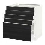 МЕТОД / МАКСИМЕРА Напольный шкаф с 5 ящиками - 80x60 см, Тингсрид под дерево черный, белый