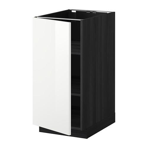 МЕТОД Напольный шкаф с полками - 40x60 см, Рингульт глянцевый белый, под дерево черный