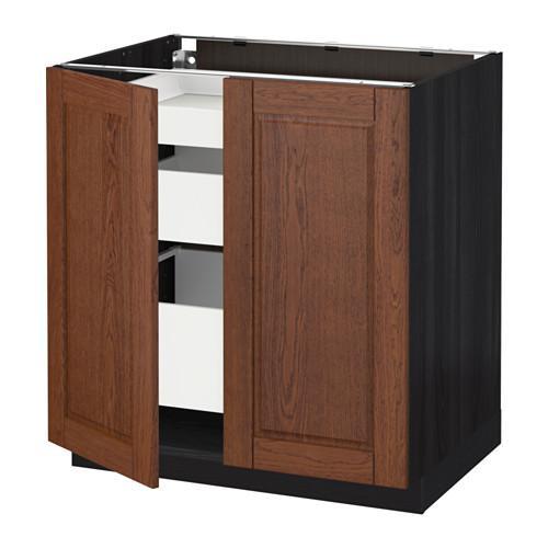 МЕТОД / МАКСИМЕРА Напольный шкаф с 2дверцами/3ящиками - Филипстад коричневый, под дерево черный