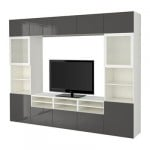 БЕСТО Шкаф для ТВ, комбин/стеклян дверцы - белый/Сельсвикен глянцевый/серый матовое стекло, направляющие ящика, плавно закр