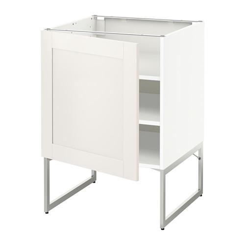 МЕТОД Напольный шкаф с полками - 60x60x60 см, Сэведаль белый, белый