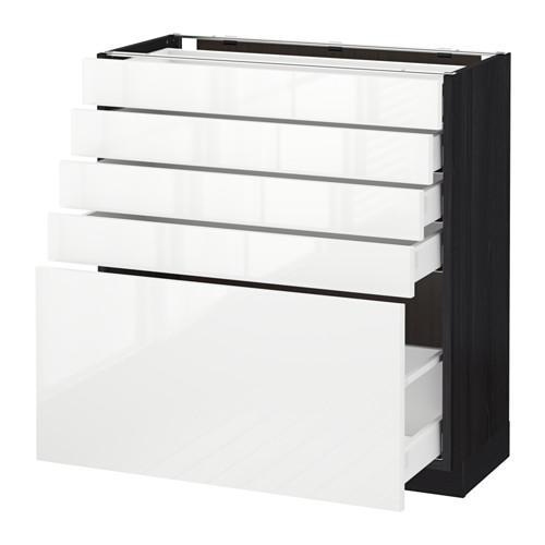 МЕТОД / МАКСИМЕРА Напольный шкаф с 5 ящиками - 80x37 см, Рингульт глянцевый белый, под дерево черный