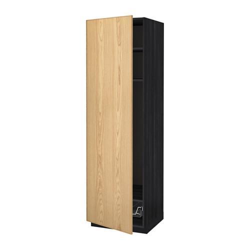 МЕТОД Выс шкаф с полками/проволоч корзин - 60x60x200 см, Экестад дуб, под дерево черный