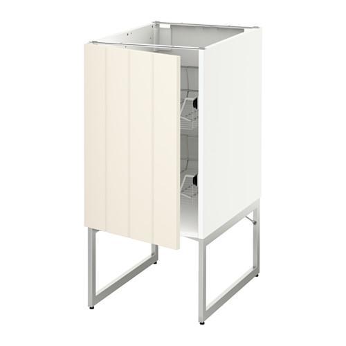 МЕТОД Напольный шкаф с проволочн ящиками - 40x60x60 см, Хитарп белый с оттенком, белый
