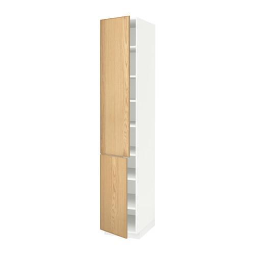 МЕТОД Высокий шкаф с полками/2 дверцы - 40x60x220 см, Экестад дуб, белый