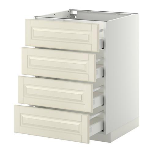 МЕТОД / МАКСИМЕРА Напольн шкаф 4 фронт панели/4 ящика - 60x60 см, Будбин белый с оттенком, белый