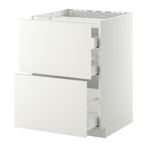 МЕТОД / МАКСИМЕРА Напольн шкаф/2 фронт пнл/3 ящика - 60x60 см, Хэггеби белый, белый