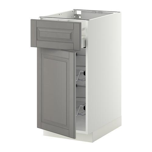 МЕТОД / МАКСИМЕРА Напольн шкаф с пров корз/ящ/дверью - 40x60 см, Будбин серый, белый