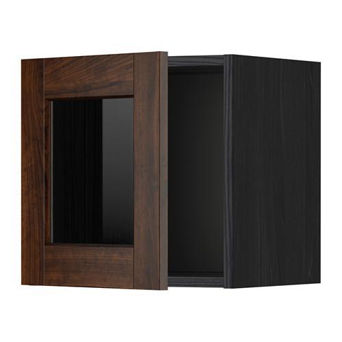 МЕТОД Навесной шкаф со стеклянной дверью - под дерево черный, Эдсерум под дерево коричневый