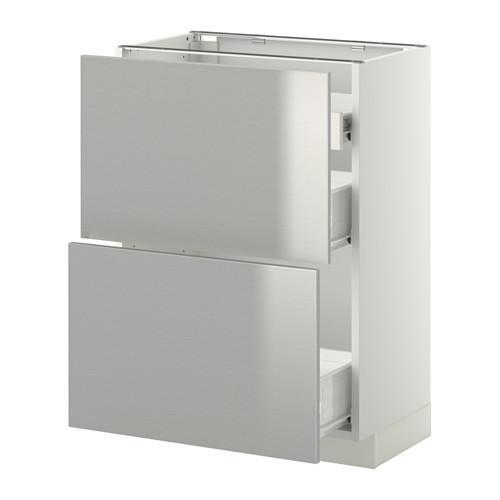 VERFAHREN / FORVARA Nap Schrank 2 FRNT PNL / 1nizk / 2sr Schubladen - weiß, Grevsta Edelstahl, 60x37 cm