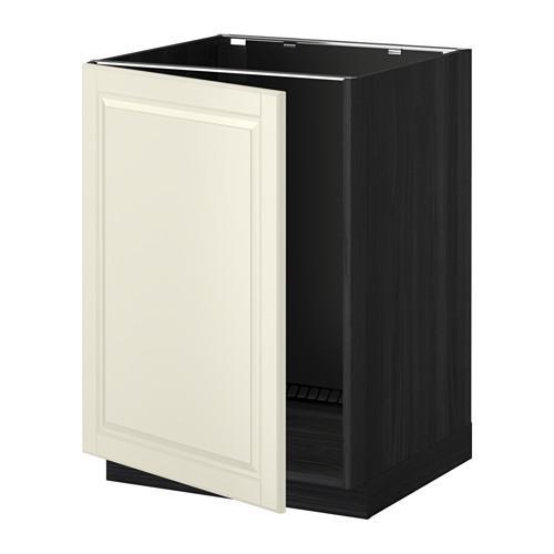 МЕТОД Напольный шкаф для раковины - Будбин белый с оттенком, под дерево черный