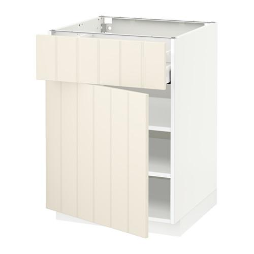 МЕТОД / МАКСИМЕРА Напольный шкаф с ящиком/дверью - 60x60 см, Хитарп белый с оттенком, белый