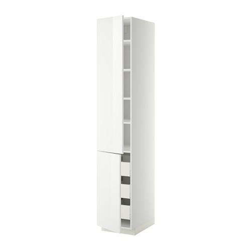 МЕТОД / МАКСИМЕРА Высокий шкаф+полки/3 ящика/2 дверцы - 40x60x220 см, Рингульт глянцевый белый, белый