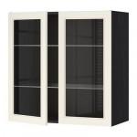 МЕТОД Навесной шкаф с полками/2 стекл дв - 80x80 см, Хитарп белый с оттенком, под дерево черный