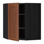 МЕТОД Угловой навесной шкаф с полками - 68x80 см, Филипстад коричневый, под дерево черный