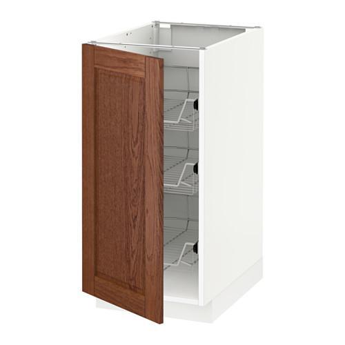 МЕТОД Напольный шкаф с проволочн ящиками - 40x60 см, Филипстад коричневый, белый