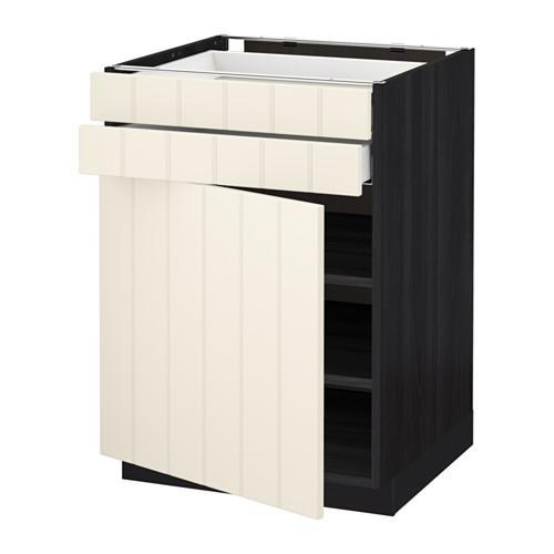 МЕТОД / МАКСИМЕРА Напольный шкаф с дверцей/2 ящиками - 60x60 см, Хитарп белый с оттенком, под дерево черный